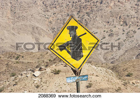 Stock Photograph of Traffic Sign Of A Military Zone, Khyber Pass.
