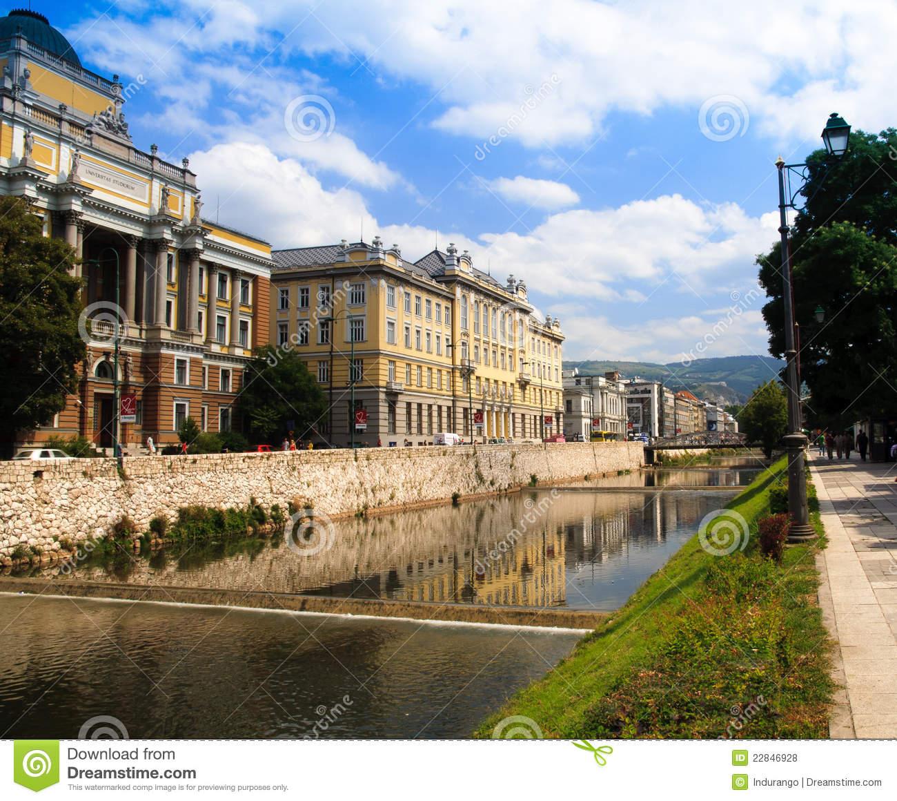 Miljacka River In Bosnia Royalty Free Stock Photos.