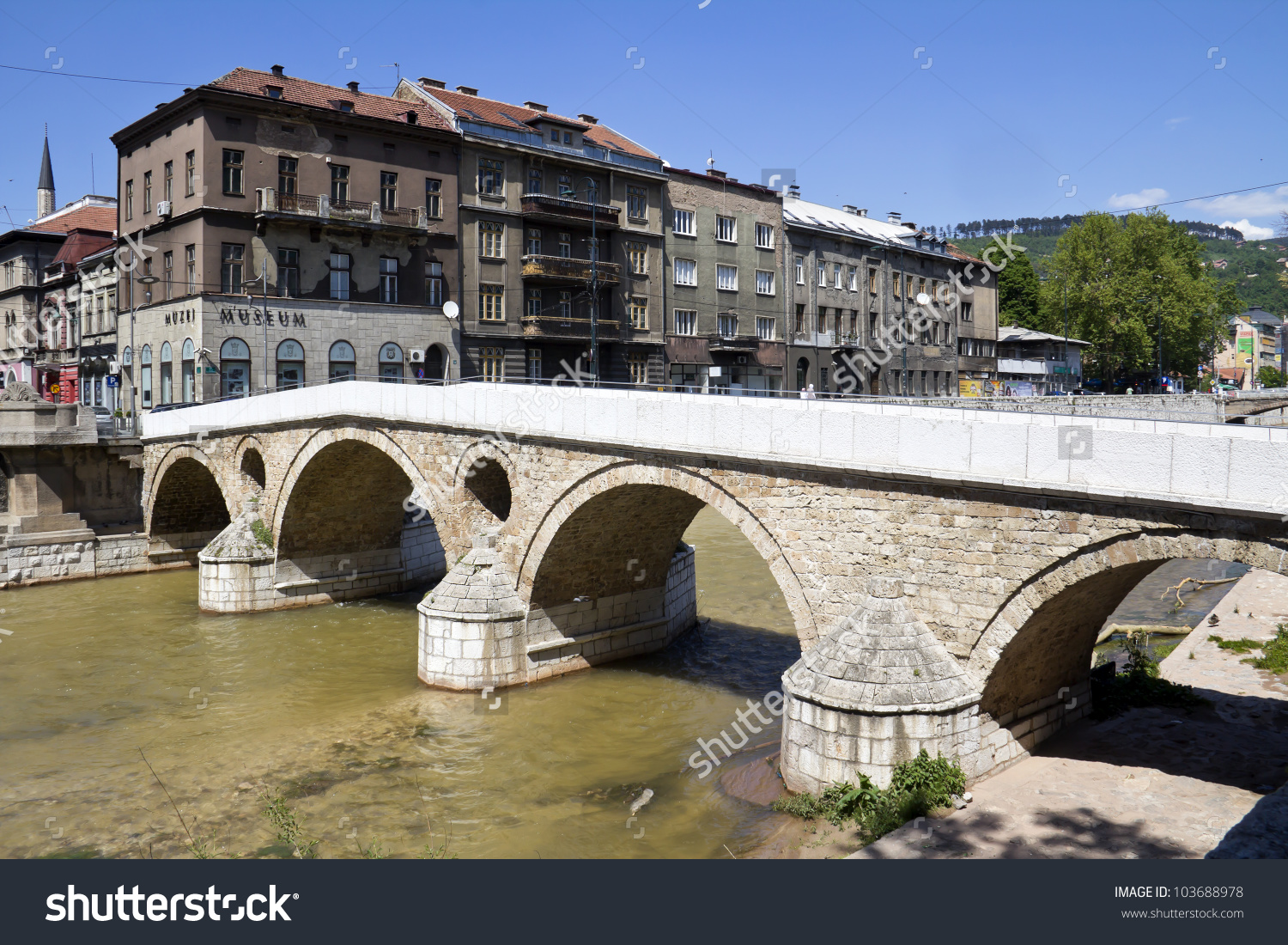 Bridge On Miljacka River In Sarajevo The Capital City Of Bosnia.