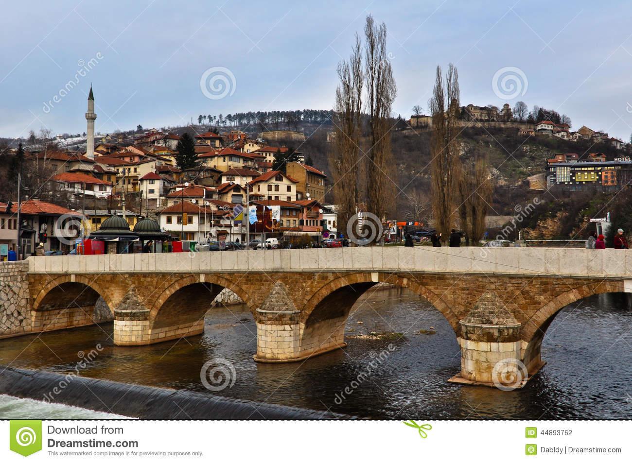 Latin Bridge Across Miljacka River In Sarajevo Editorial.