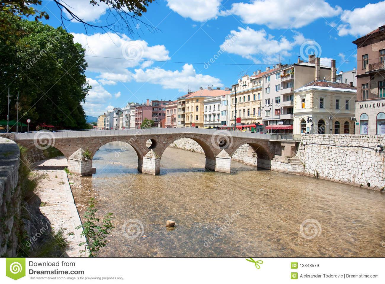 Bridge On Miljacka River In Sarajevo Royalty Free Stock Images.