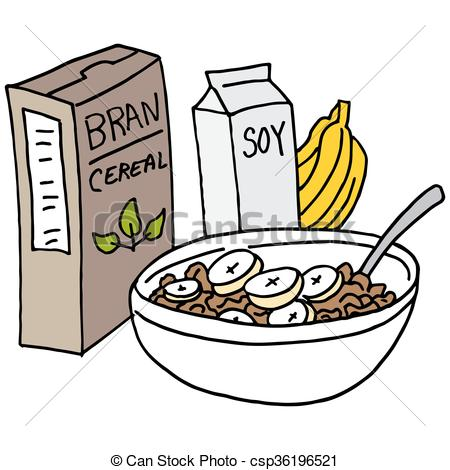 Vector Illustration of Bran cereal with bananas and soy milk.