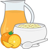 Clipart of Cereal bowl with milk and spoon. k5568191.
