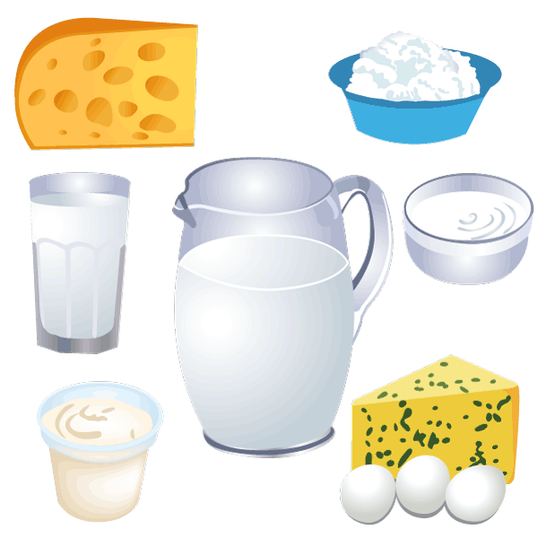 Milk and cheese free vector clipart.