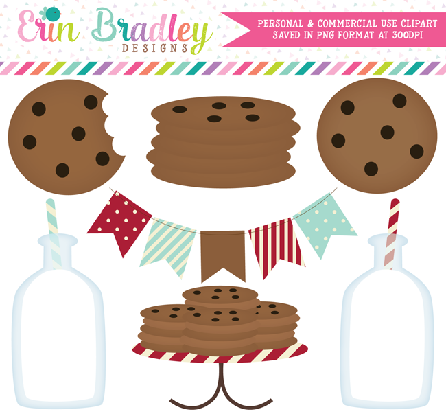 Milk and Cookies Clipart in Red and Aqua Blue.