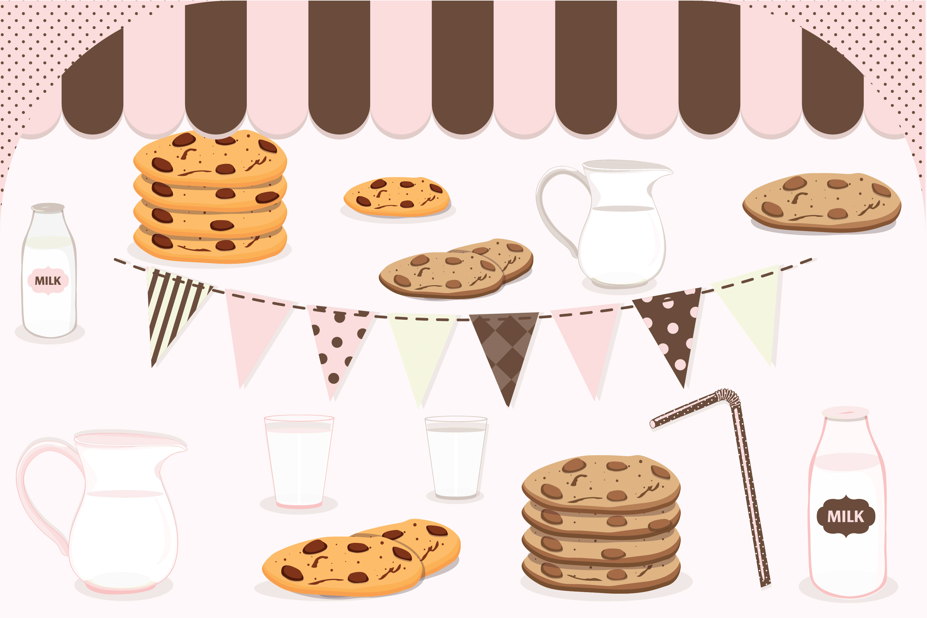 Milk and cookies clipart, Milk and cookies graphics.