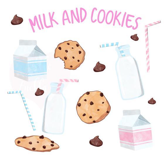 Milk and cookies, milk clipart, cookie clipart, milk cookie clipart,  chocolate chip, chocolate clipart, milk jug clipart, milk carton.