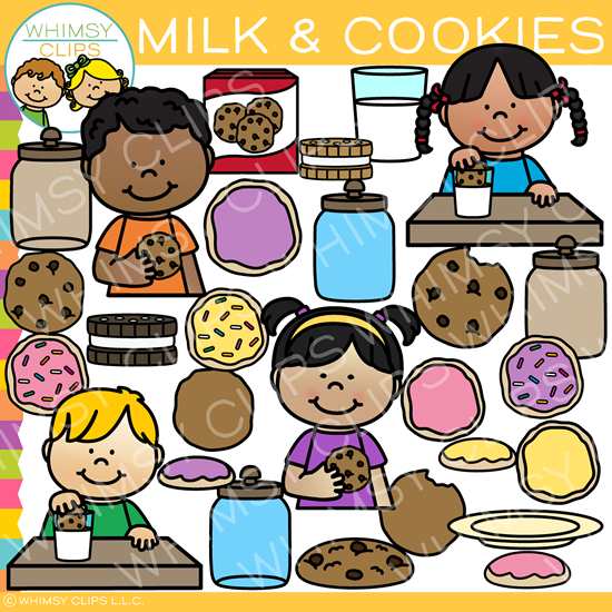 Kids Milk and Cookies Clip Art.