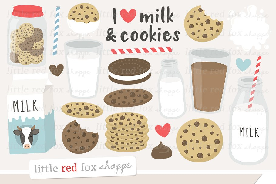 Milk & Cookies Clipart.