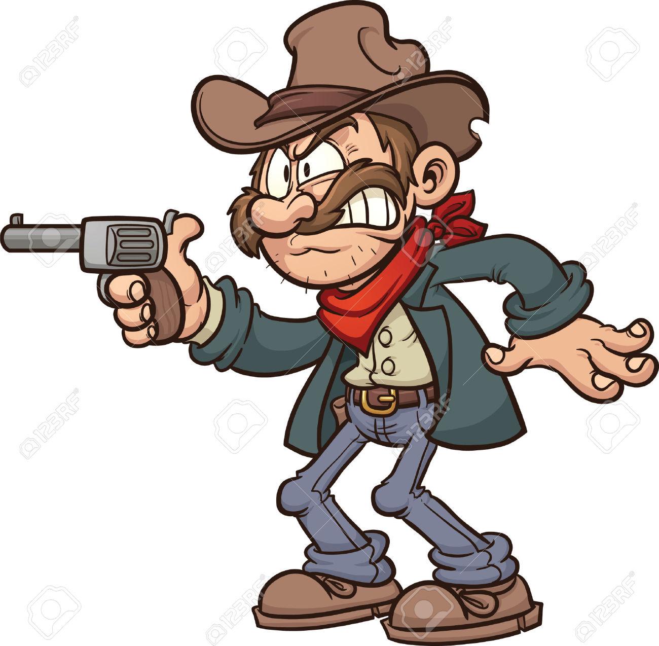 Cow boy and gunslinger clipart.