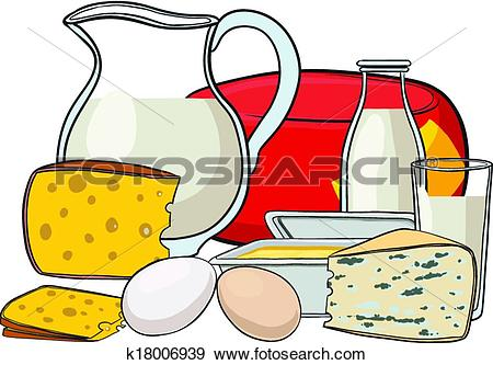 Clip Art of Still life with milk products k18006939.