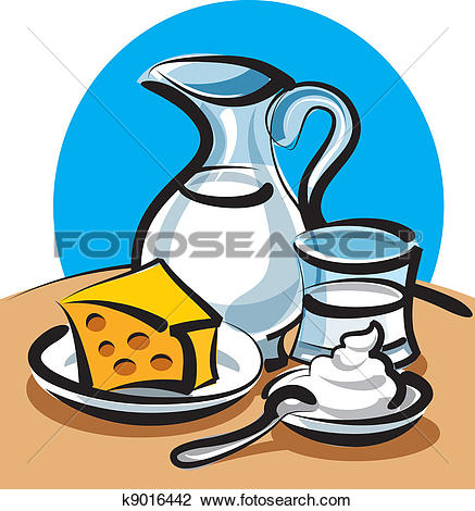 Clipart of milk products k9016442.