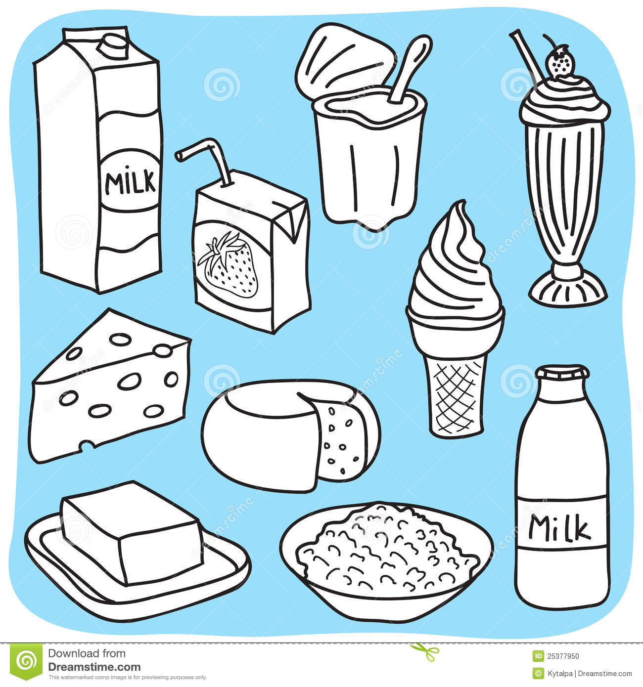 Diary And Milk Products Stock Photo.