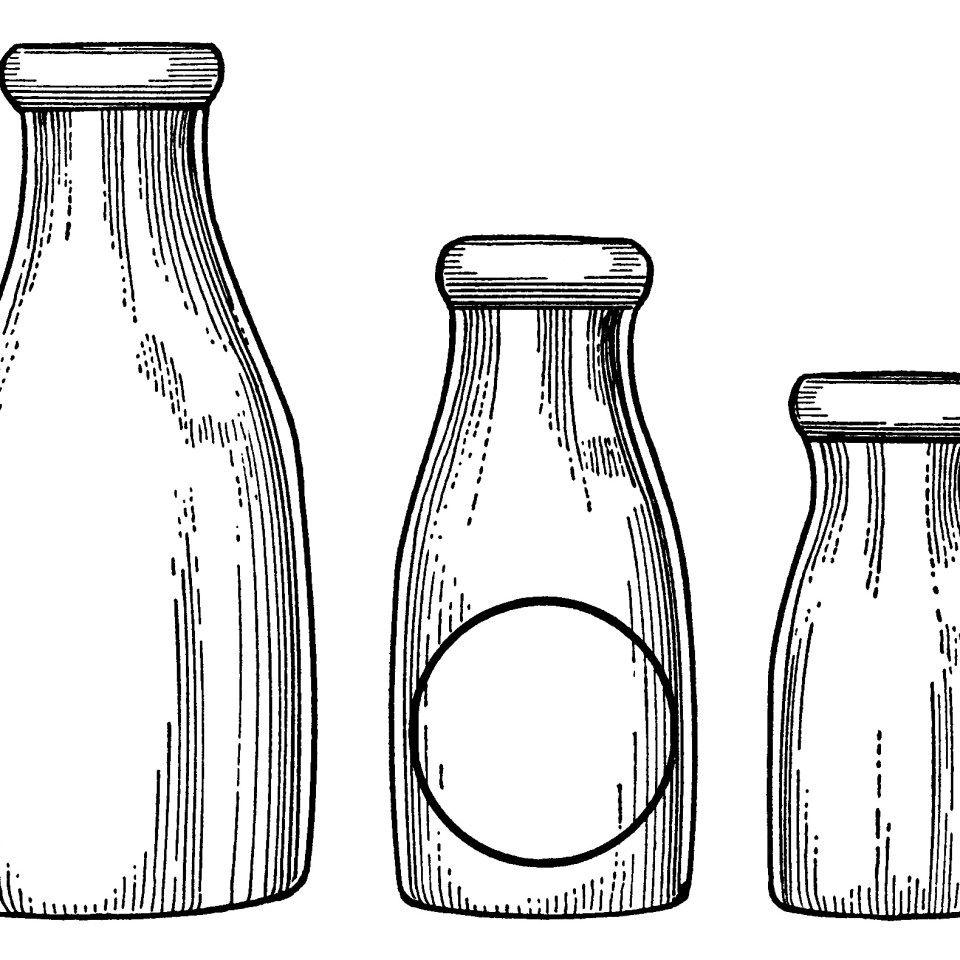 milk bottle clip art, vintage dairy, paper ephemera, black.