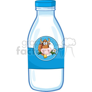 Royalty Free RF Clipart Illustration Milk Bottle With Cartoon Cow Head  Label clipart. Royalty.
