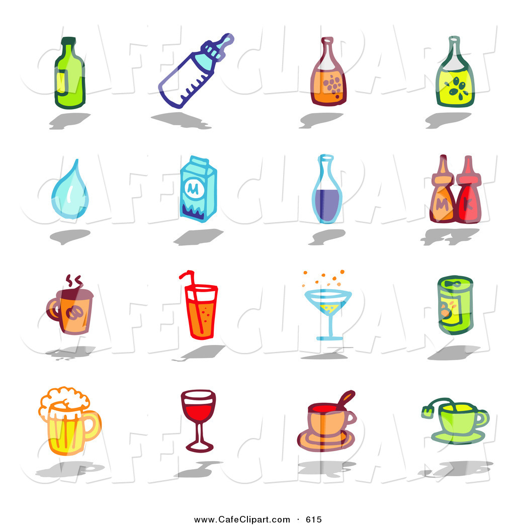 Vector Clip Art of a Digital Set of Bottles, Water, Milk.