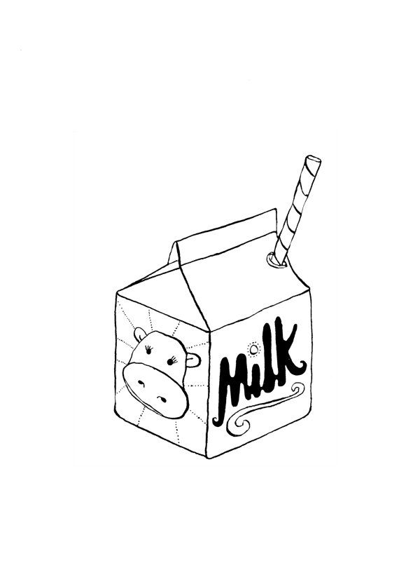 Black milk carton illustration.