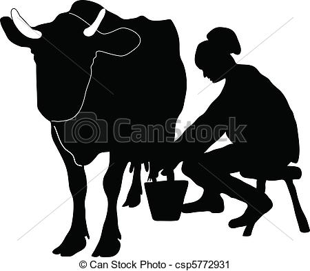 Vector Clip Art of Woman milking cow csp5772931.