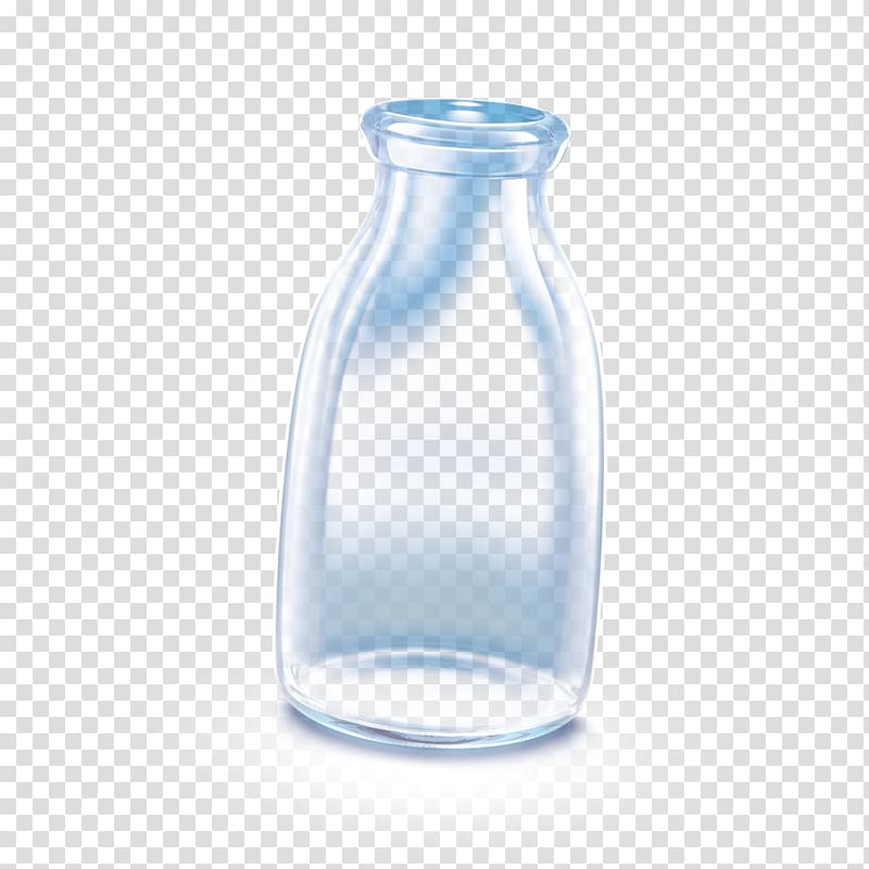 Milk Glass Water Bottles Transparency and translucency.