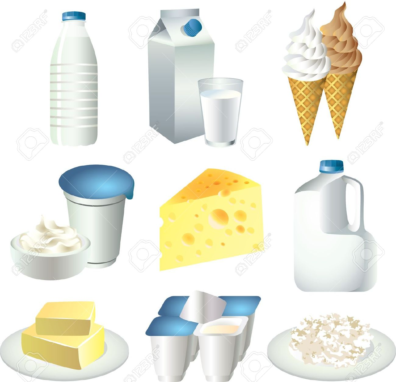 Milk Products Picture Realistic Illustration Set Royalty Free.