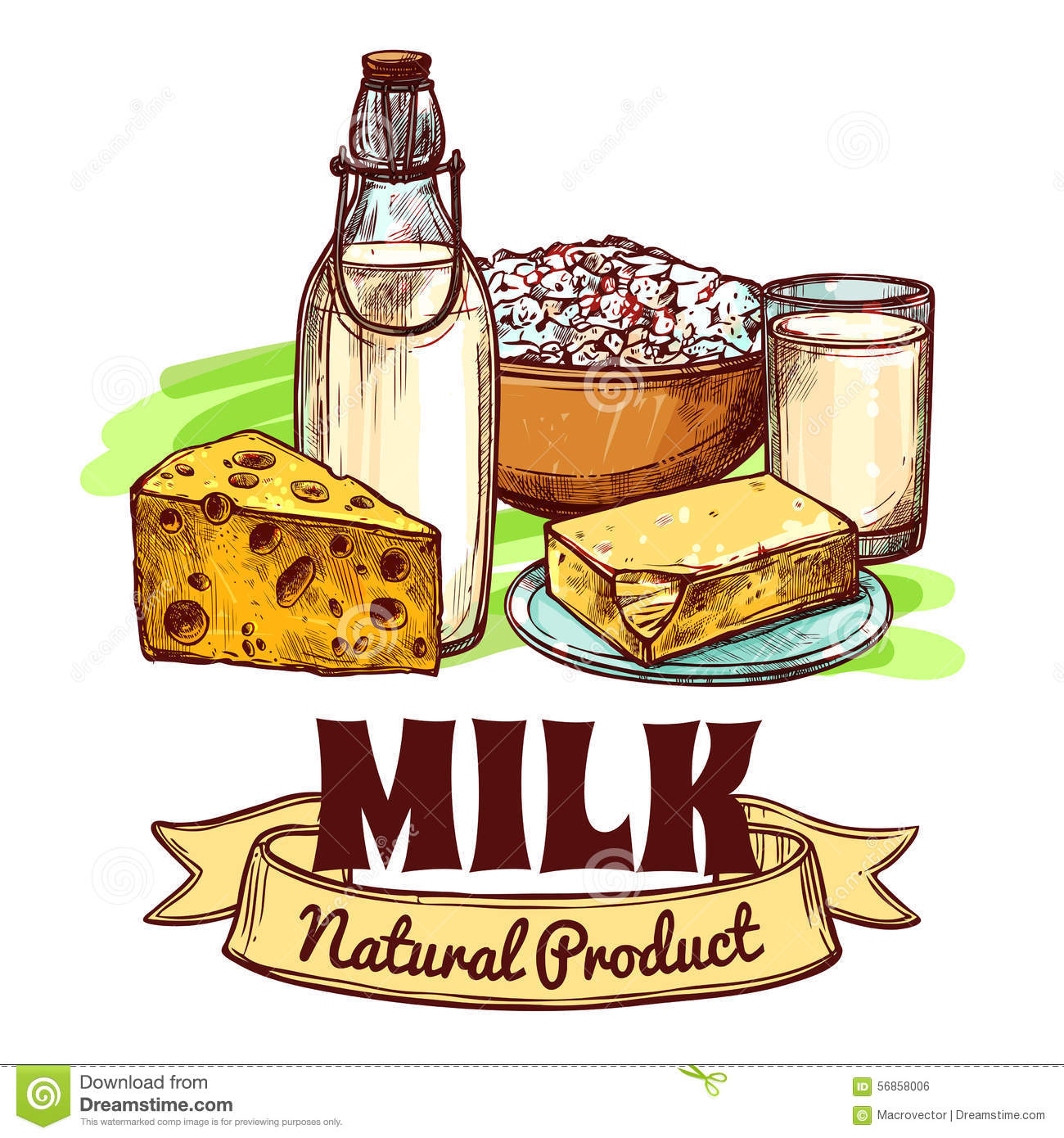 Milk Product Sketch Concept Stock Vector.