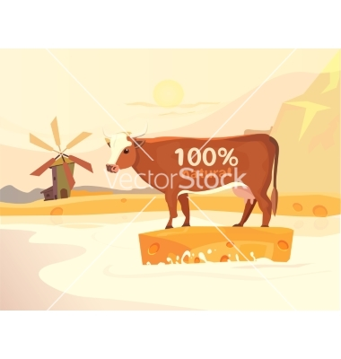 Design with cow milk river and landscape vector by Denis08131.