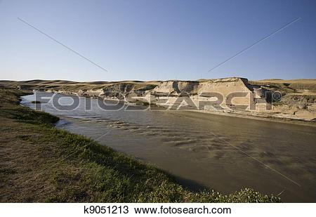 Stock Photo of Milk River Alberta Badlands k9051213.