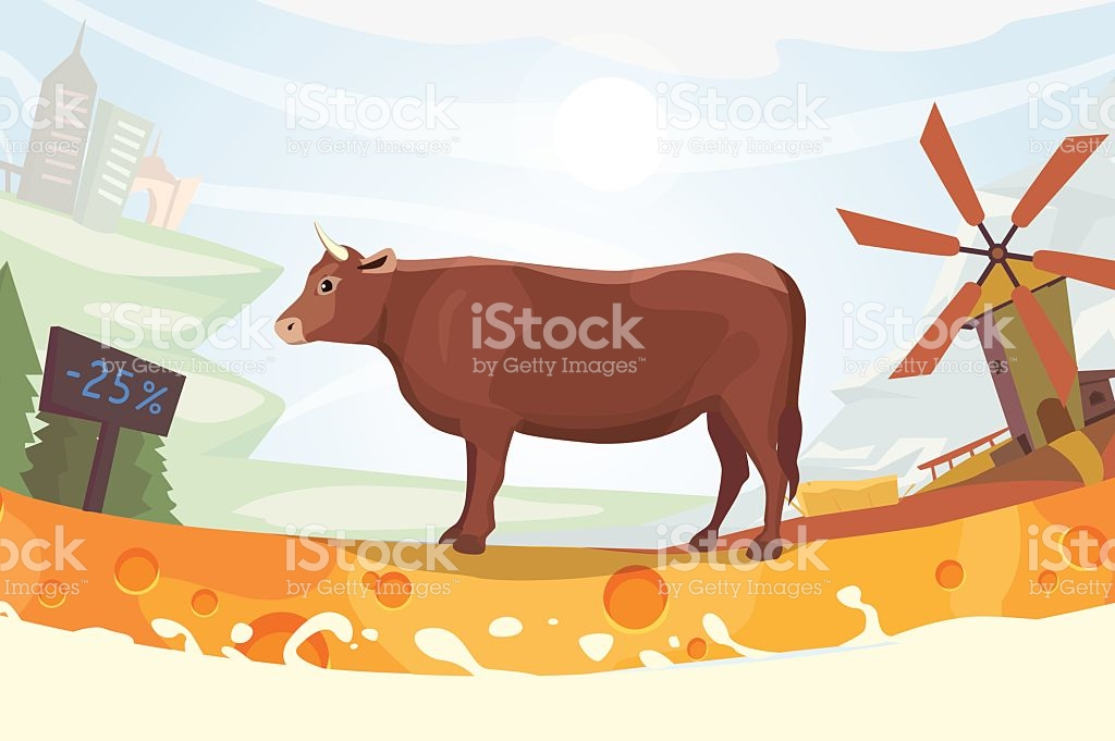 Cute Cow With Milk River Vector Illustration Colorful Landscape.