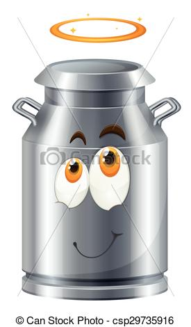 Vector Clip Art of Milk tank with face illustration csp29735916.