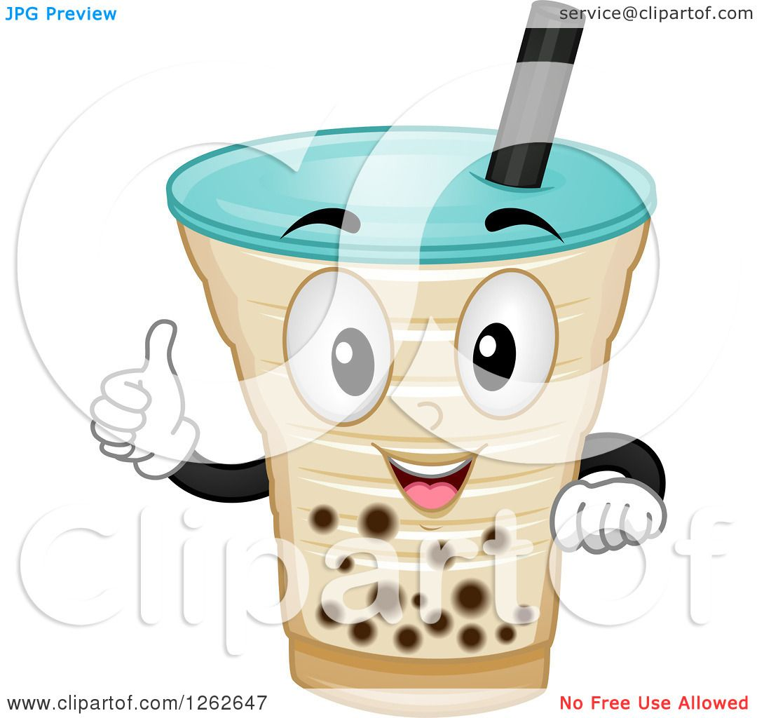 Clipart of a Milk Tea Character Holding a Thumb up.