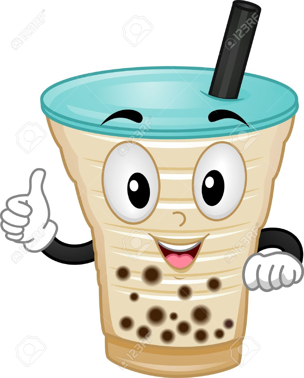 Mascot Illustration Featuring A Milk Tea Giving A Thumbs Up.