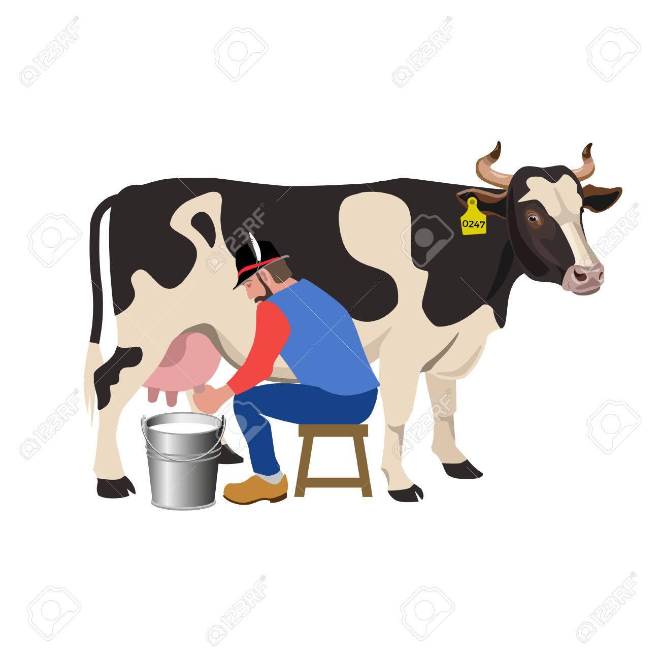 Farmer milking a cow. Vector illustration.