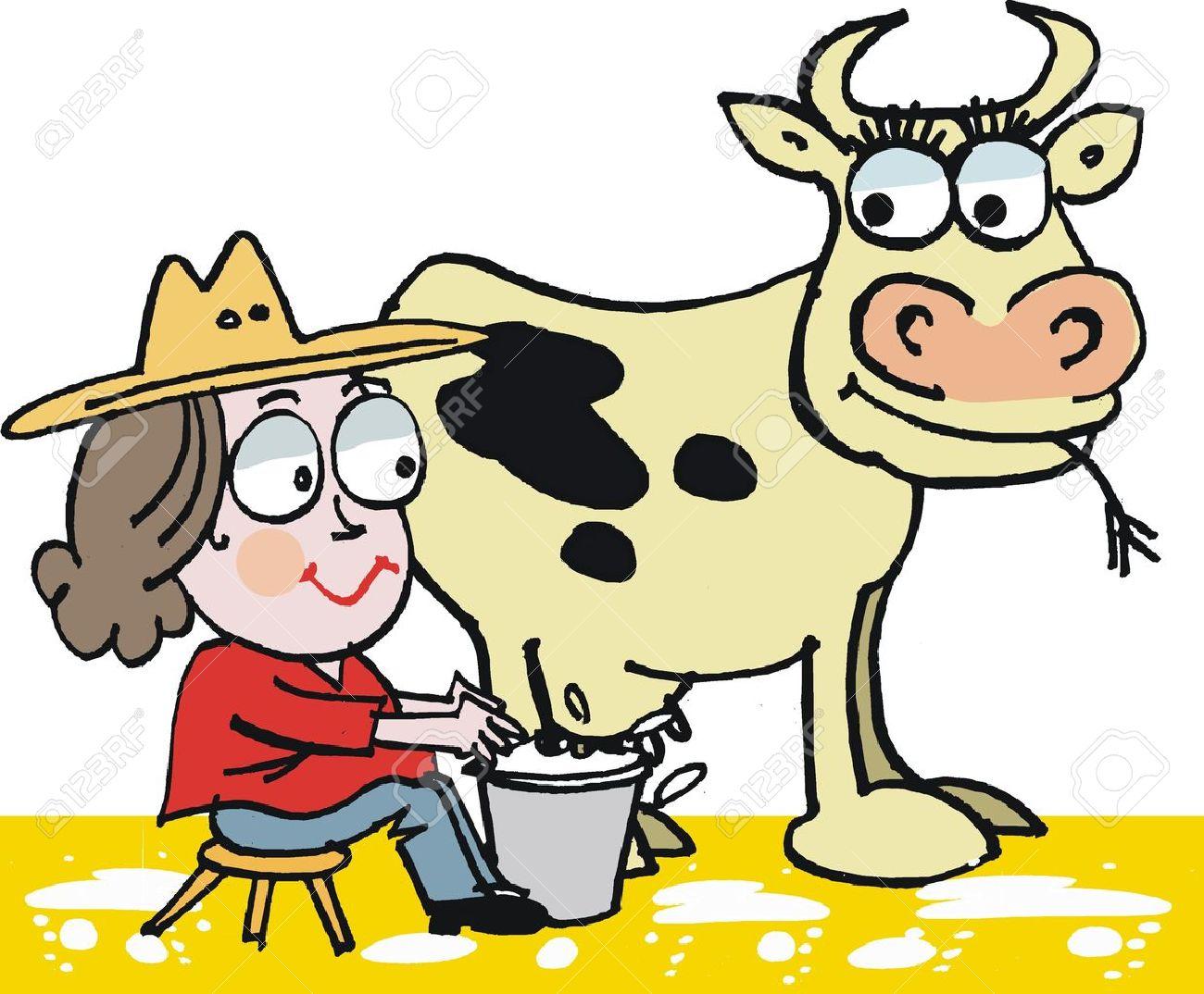 Vector cartoon of woman milking cow.
