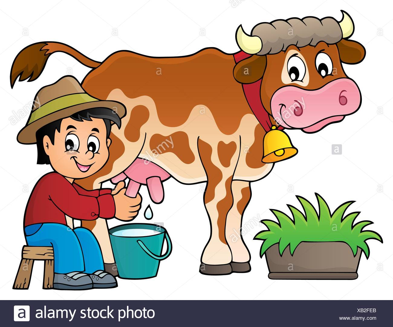 Farmer milking cow image 1 Stock Photo: 282183171.