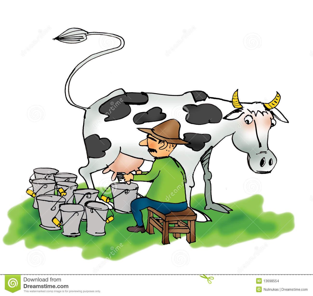 Milking Stock Illustrations.
