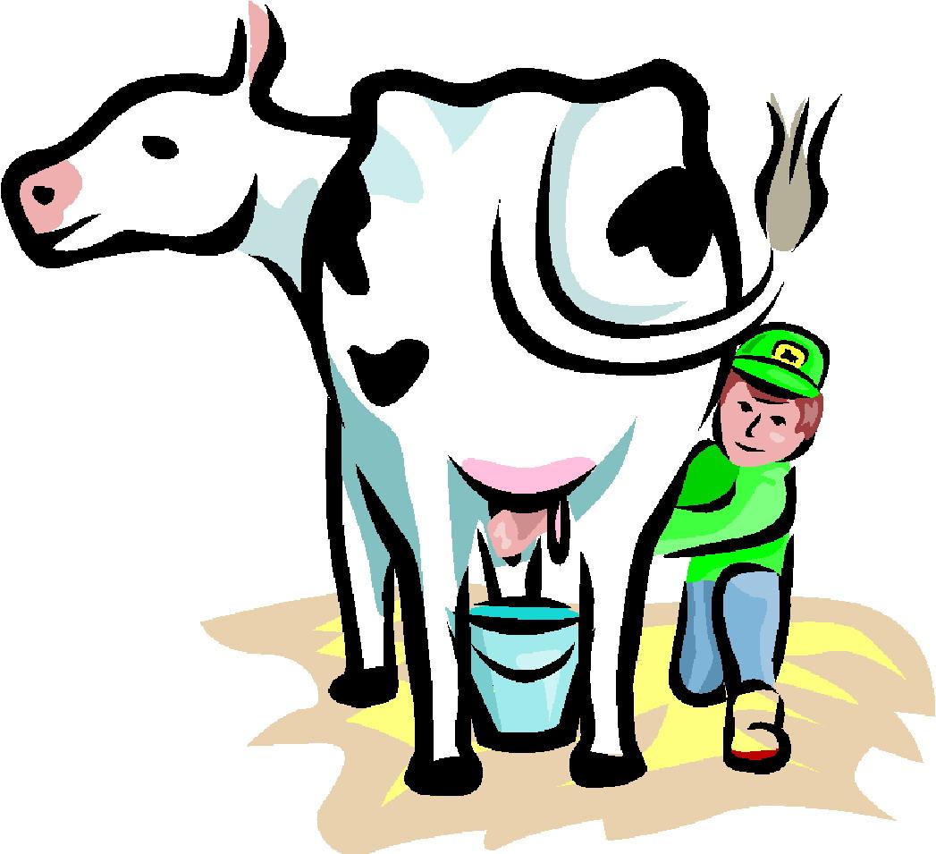 Cartoon Milking Cow.