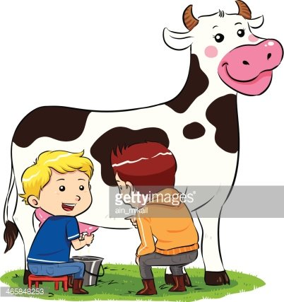 Milking A Cow Clipart Image.