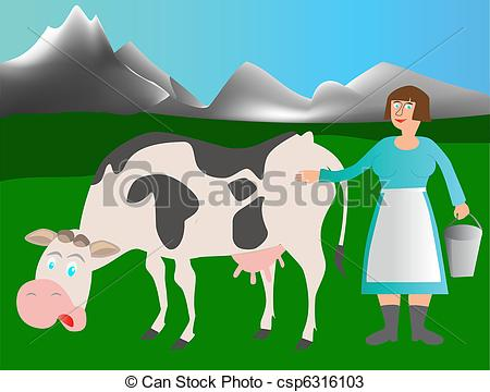 Milkmaid Clipart Vector Graphics. 105 Milkmaid EPS clip art vector.