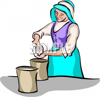 Clip Art Picture of a Milk Maid Pouring Cream from a Pitcher.