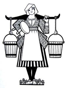Dutch Milk Maid with Pails.