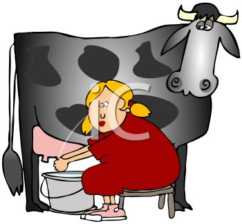 Milkmaid Milking a Cow and Squirting Herself in the Eye.