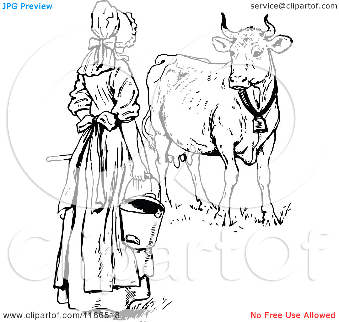 Clipart of a Retro Vintage Black and White Milk Maid by a Cow.