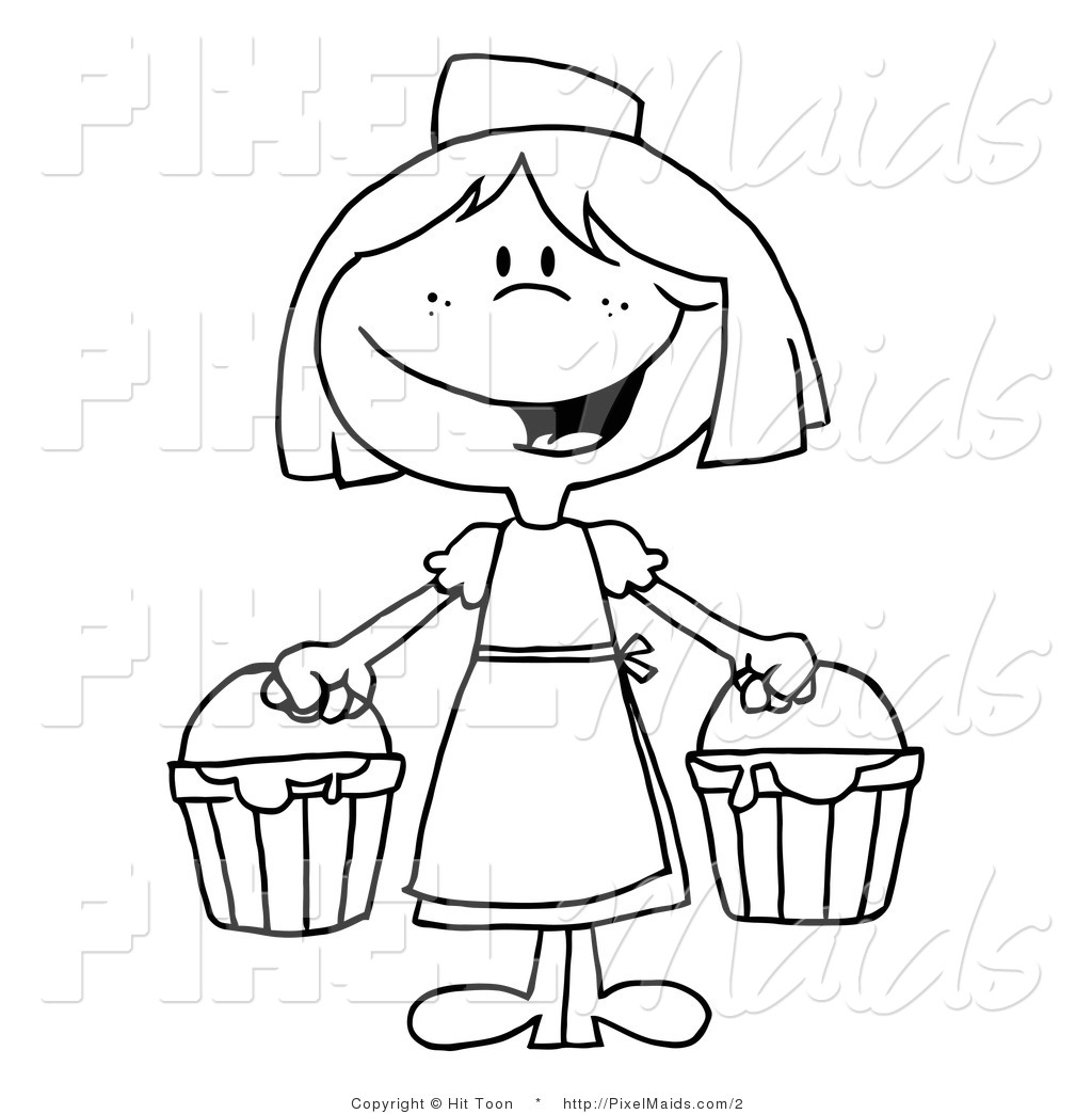 Vector Clipart of a Black and White Milk Maid by Hit Toon.