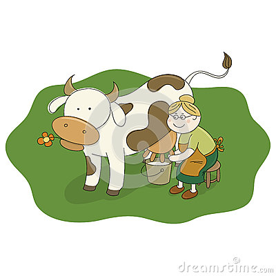 Milkmaid Stock Illustrations.