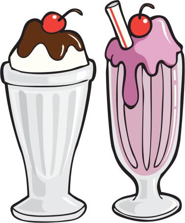 Chocolate milkshake with ice cream clipart.