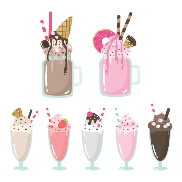 Best Milkshake Illustrations, Royalty.