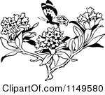 Clipart of a Vintage Black and White Butterfly 2.