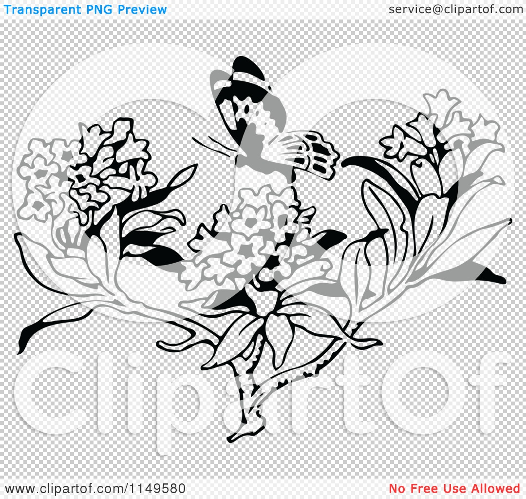Clipart of a Retro Vintage Black and White Butterfly over Milkweed.