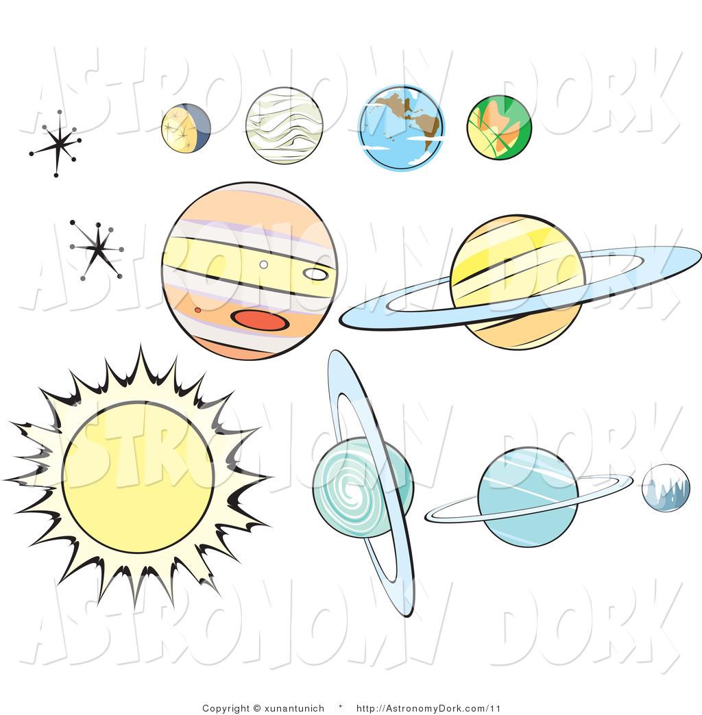 Vector Clip Art of a Digital Collage of Retro Milky Way Planets.