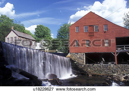 Picture of waterfall, Vermont, VT, Weston, A waterfall cascades.